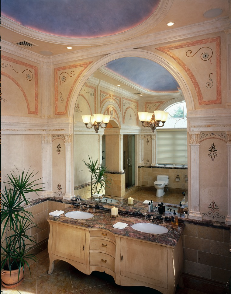 A luxury bathroom reflected by the mirror bathroom, cabinetry, ceiling, countertop, cuisine classique, estate, home, interior design, room, window, brown, gray