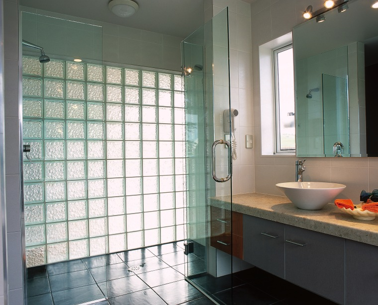 The view of a bathroom featuring bubbled glass bathroom, ceiling, floor, glass, home, interior design, plumbing fixture, room, tile, window, gray
