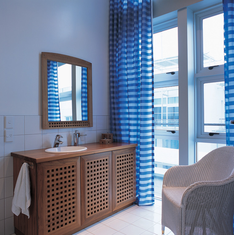 View of a waterfront bathroom bathroom, interior design, room, window, teal