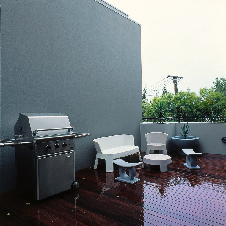 View of the balcony architecture, furniture, home, house, interior design, gray, black