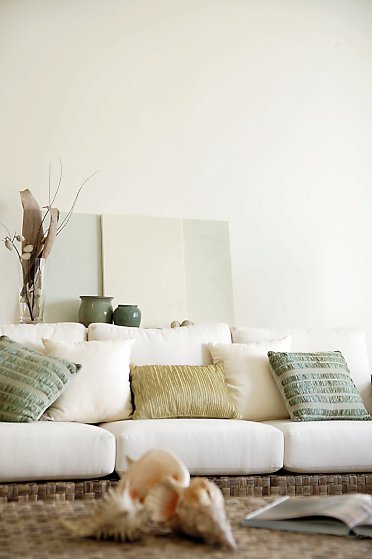 View of the living room couch, furniture, home, interior design, living room, room, table, wall, wood, white