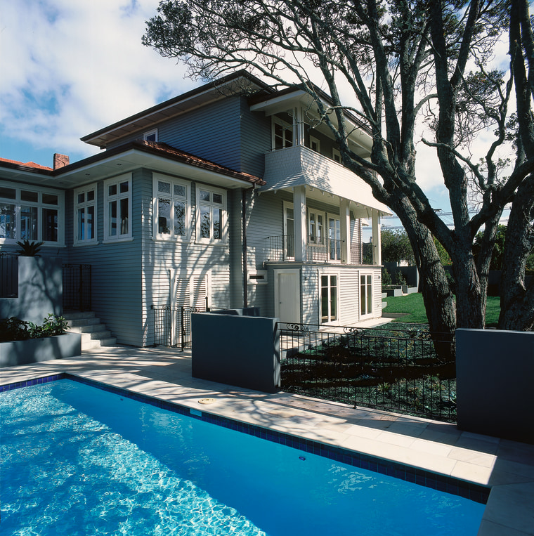 Pool area in front of weatherboard house, with architecture, backyard, building, cottage, estate, facade, home, house, mansion, property, real estate, residential area, siding, swimming pool, villa, window, black