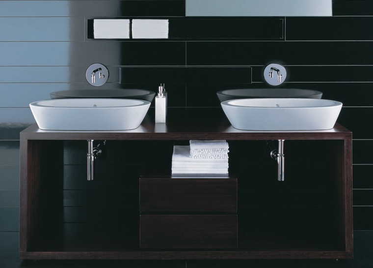 The detail of two basins bathroom, bathroom accessory, bathroom cabinet, bathroom sink, ceramic, plumbing fixture, product, product design, sink, tap, black