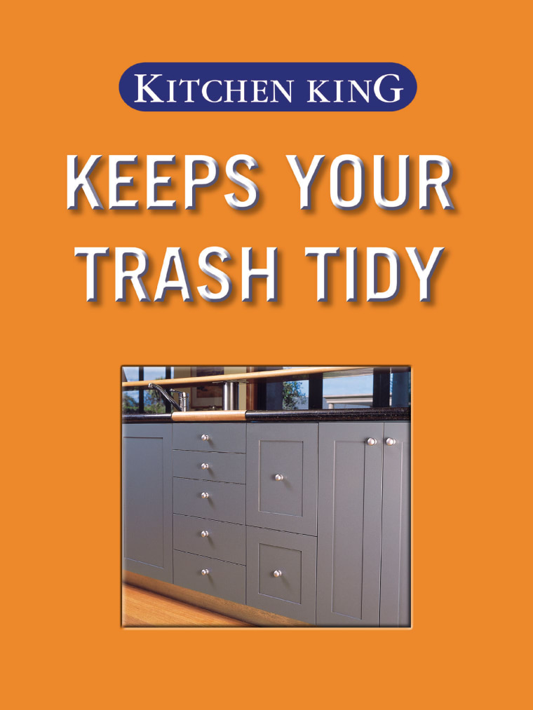A view of the waste disposal drawer. font, furniture, line, product, text, orange