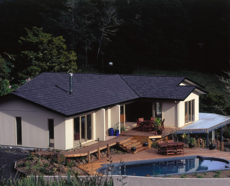 Contemporary country home with extensive decking, pool, cream cottage, estate, home, house, outdoor structure, property, real estate, residential area, roof, siding, black