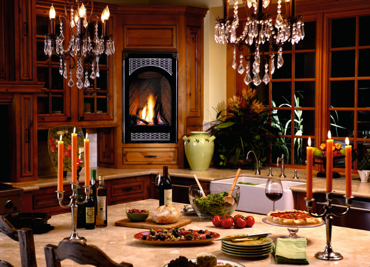 A fireplace in the kitchen dining room, furniture, home, interior design, room, table, red, brown