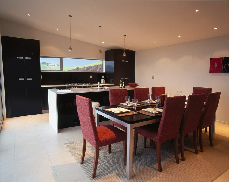 Kitchen and dining area with black and white dining room, flooring, interior design, kitchen, property, real estate, room, table