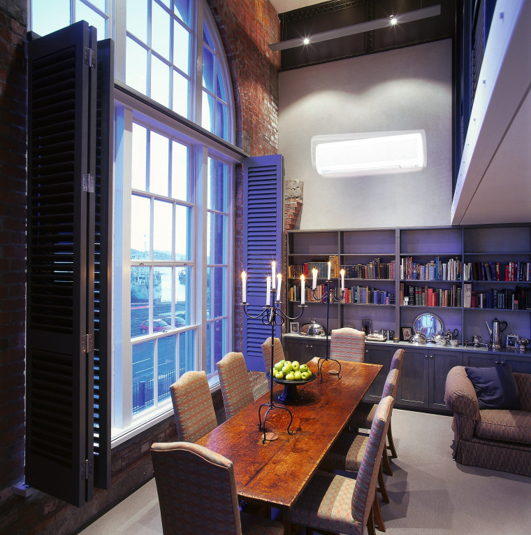 Dining room with long wooden table and tall apartment, ceiling, interior design, living room, loft, real estate, window, black