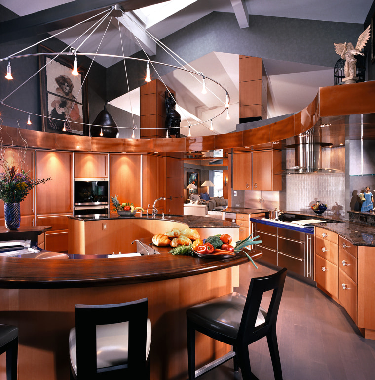 View of this kitchen cabinetry, ceiling, countertop, cuisine classique, interior design, kitchen, red, black