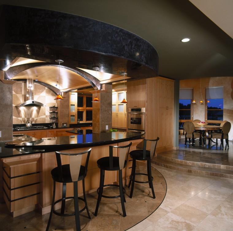 Low barrel vault ceiling with maple panels, and ceiling, countertop, interior design, kitchen, table, black, brown