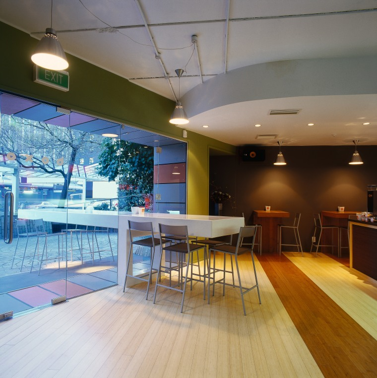 Interior of noodle bar with contrasting timber floor, architecture, ceiling, daylighting, floor, flooring, interior design, real estate, table, wall, wood, wood flooring, gray, brown