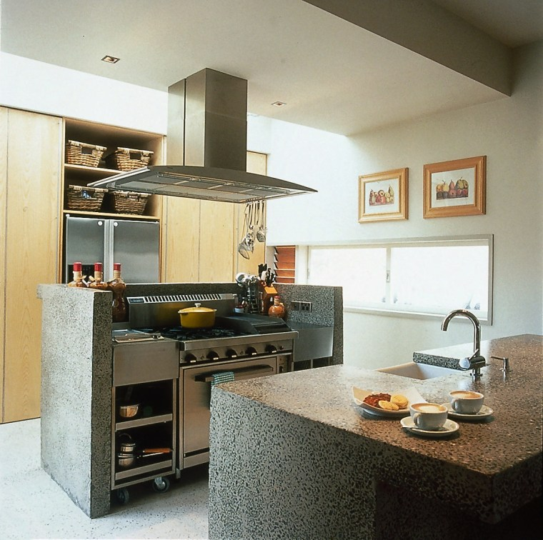 View of a kitchen with concrete benchtops cabinetry, countertop, cuisine classique, interior design, kitchen, room
