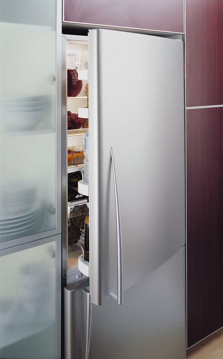 A Fisher & Paykel Iridium refrigerator. The fridge home appliance, major appliance, product design, refrigerator, gray