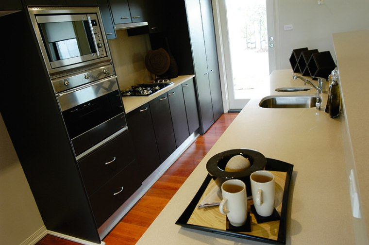 View of the kitchen countertop, furniture, home appliance, interior design, kitchen, room, black