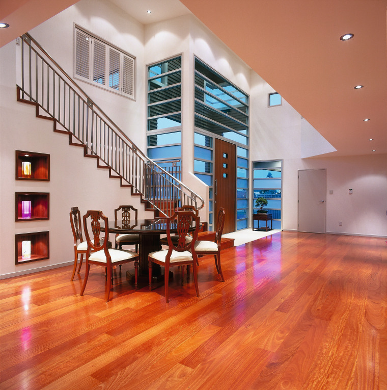 View of the interior side of the entrance apartment, ceiling, estate, floor, flooring, hardwood, interior design, laminate flooring, living room, lobby, loft, real estate, stairs, wood, wood flooring, red, gray