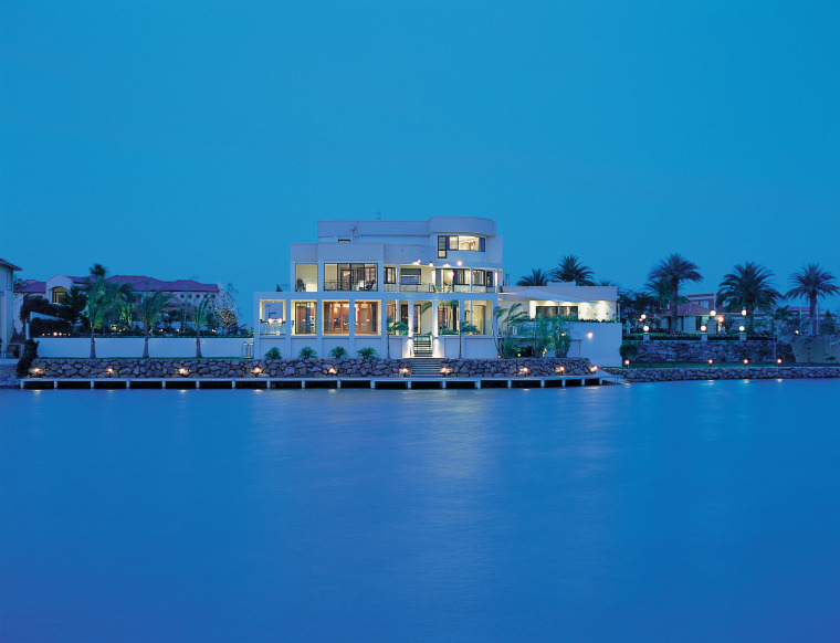 Overall view of this house blue, reflection, resort, sea, sky, water, teal