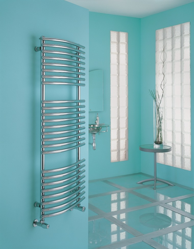 View of the towel rail from Myson Inc glass, product, product design, structure, window covering, teal