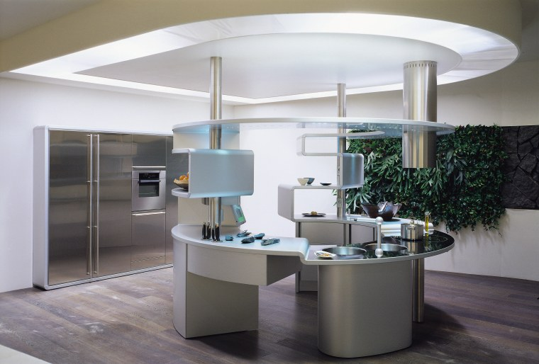 View of this contemporary kitchen ceiling, furniture, interior design, light fixture, product design, table, gray, white