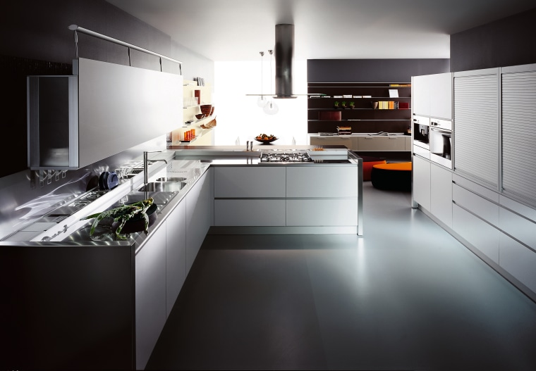 View of this contemporary kitchen countertop, cuisine classique, interior design, kitchen, product design, room, black, gray