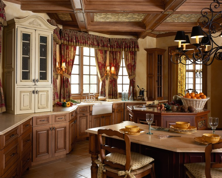 View of this traditional kitchen cabinetry, dining room, furniture, interior design, kitchen, room, window, wood, brown