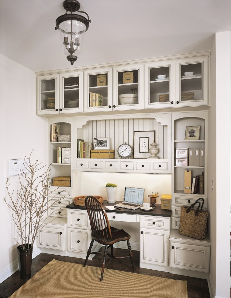 View of the desk area containing the cabinetry bookcase, cabinetry, ceiling, cuisine classique, furniture, home, interior design, living room, shelf, shelving, wall, white