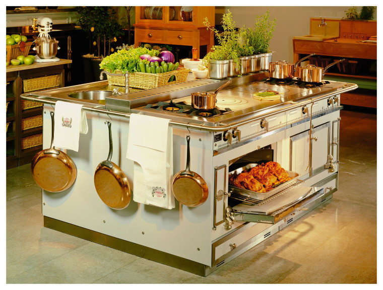 View of this kitchen island's appliances countertop, furniture, kitchen, kitchen appliance, kitchen stove, brown
