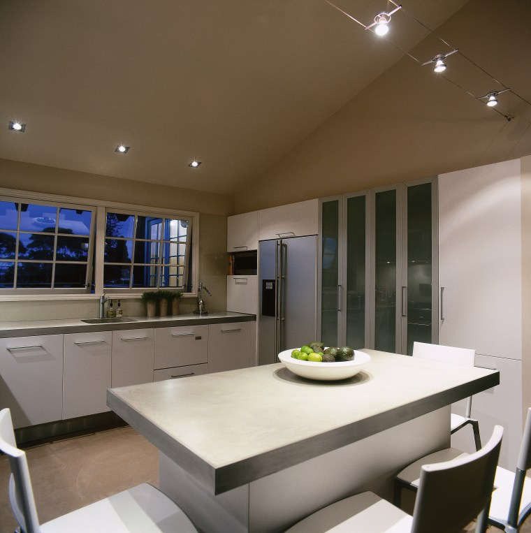View of this dining & kitchen area ceiling, countertop, interior design, kitchen, real estate, table, brown, gray