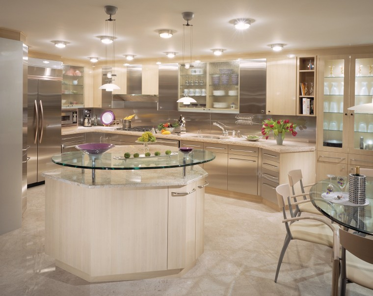 View of this contemporary kitchen designed by Habitat cabinetry, countertop, cuisine classique, flooring, interior design, kitchen, gray