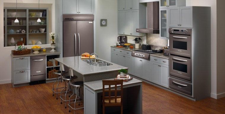 View of this contemporary kitchen cabinetry, countertop, cuisine classique, home appliance, interior design, kitchen, kitchen appliance, refrigerator, room, gray