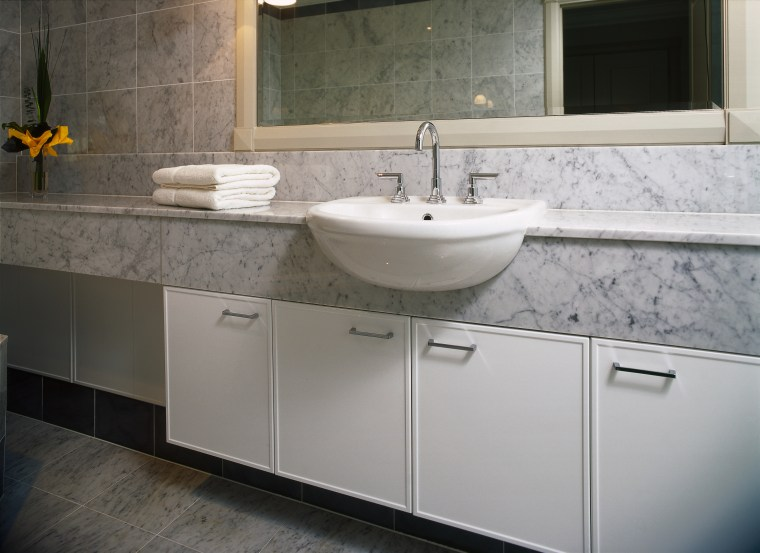 interior view of the bathroom by kitchen image bathroom, bathroom accessory, bathroom cabinet, cabinetry, countertop, floor, kitchen, room, sink, tile, gray
