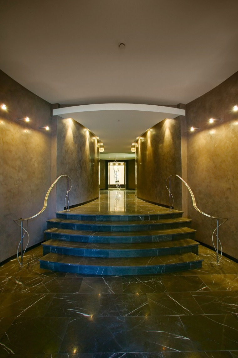 entry to apartments architecture, ceiling, daylighting, floor, interior design, light, lighting, lobby, reflection, wood, brown