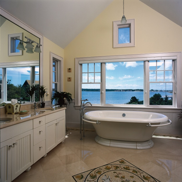 view of this bathroom featuring underfloor heating and bathroom, estate, floor, home, interior design, property, real estate, room, window, gray