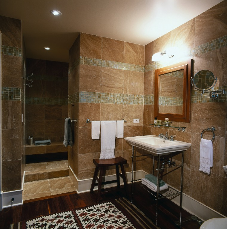 Glass mosaic borders on the marble walls of bathroom, ceiling, floor, flooring, home, interior design, real estate, room, tile, wall, brown