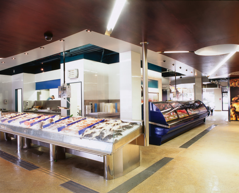 Stainless and blue display cabinets for fish, ply furniture, interior design