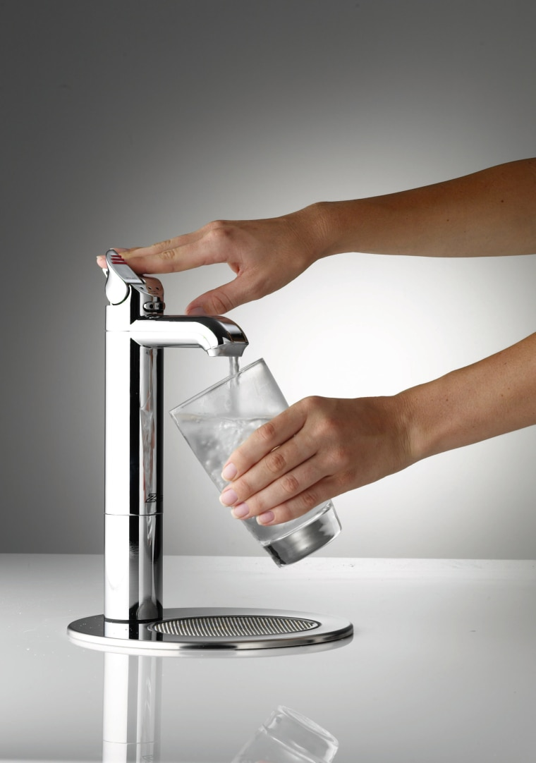 view of the stainless tapware kettle, product, product design, small appliance, tap, gray, white