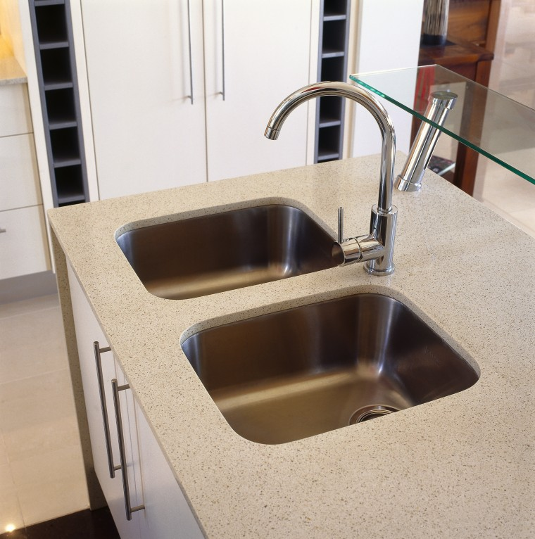 view of double stainless steel sinks that are bathroom sink, countertop, plumbing fixture, product design, sink, tap, gray