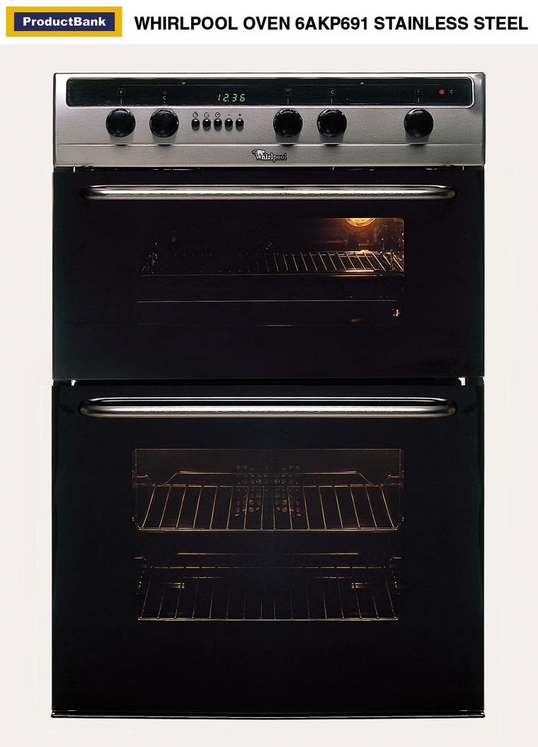 Stainless steel Whirlpool oven. gas stove, home appliance, kitchen appliance, major appliance, black, white