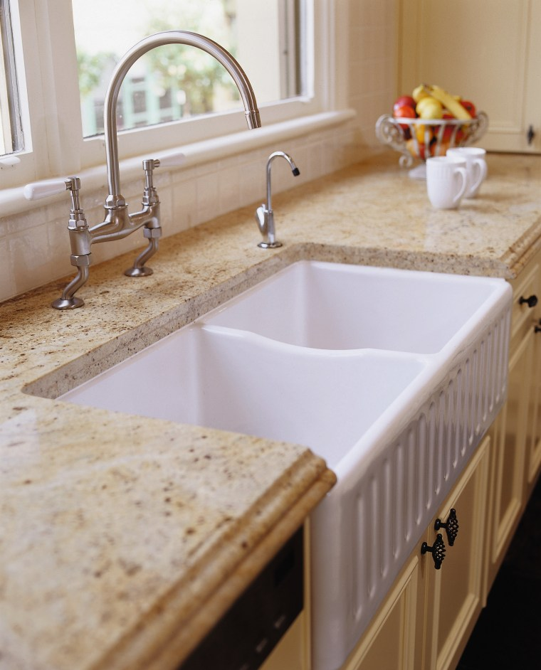 view of this gold granite benchtop bathroom, bathroom sink, ceramic, countertop, floor, kitchen, plumbing fixture, room, sink, tap, tile, gray
