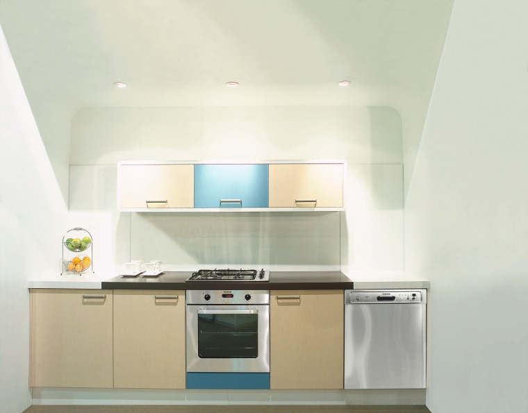 Showroom kitchen showing dishwasher, oven and cream and countertop, home appliance, kitchen, major appliance, product, product design, property, real estate, white