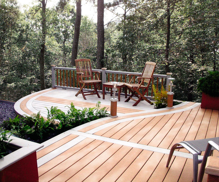 Exterior view of a wooden decked pation area, backyard, deck, hardwood, outdoor furniture, outdoor structure, path, patio, property, real estate, sunlounger, walkway, wood, wood stain, yard, white