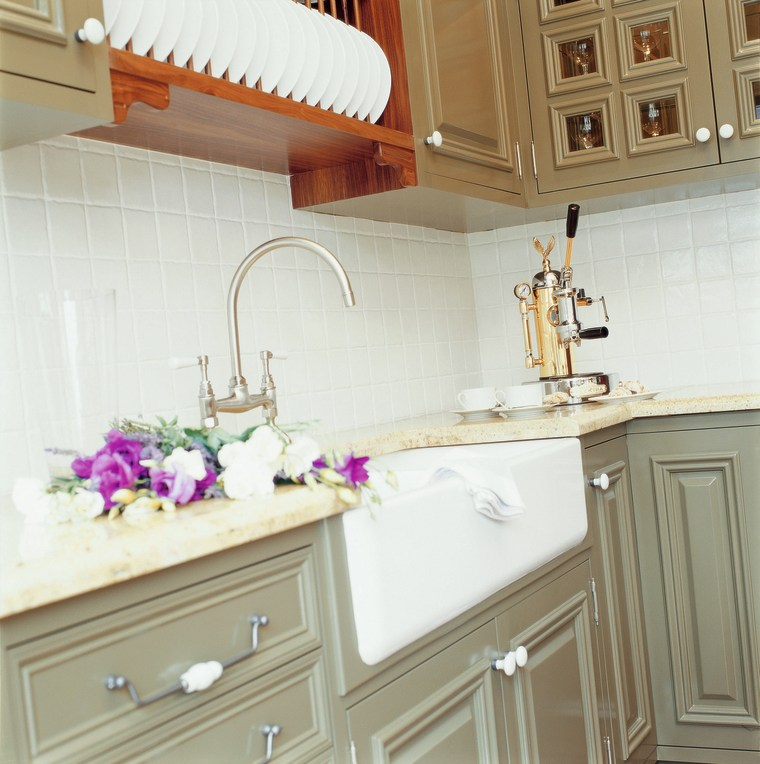 view of the kitchens washing up area and cabinetry, countertop, cuisine classique, furniture, home, interior design, kitchen, room, sink, wall, white, brown