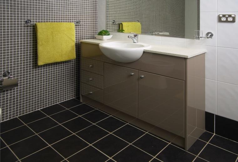view of the quantum quartz benchtop bathroom, bathroom accessory, bathroom cabinet, countertop, floor, flooring, interior design, plumbing fixture, product design, room, sink, tile, wall, black, gray