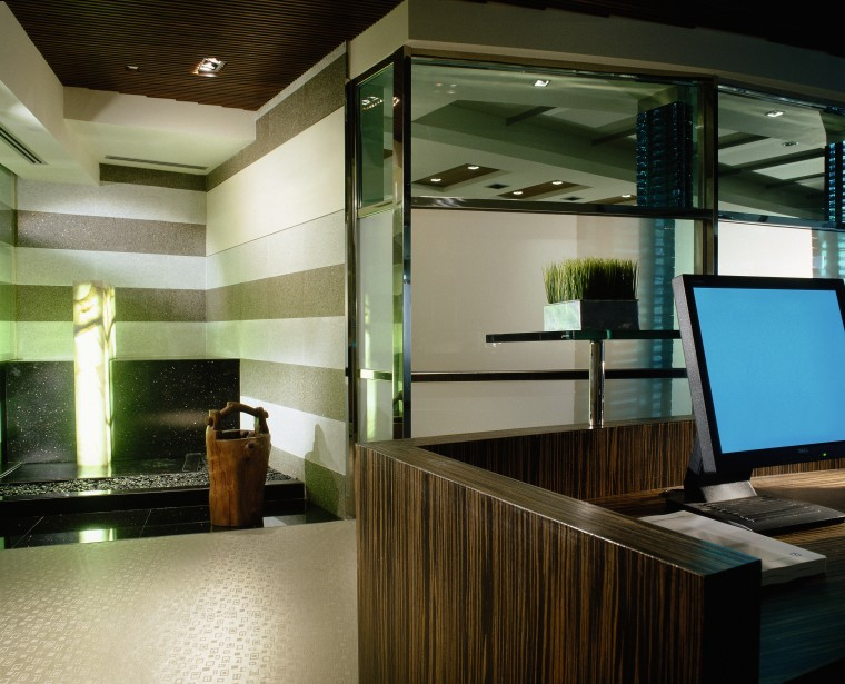 view of the bank reception showing water feature architecture, ceiling, glass, interior design, lobby, brown, black