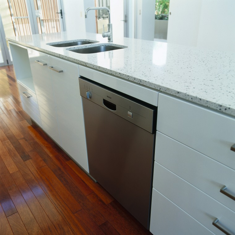 view of the bosch dishwasher cabinetry, countertop, floor, flooring, furniture, hardwood, kitchen, sink, wood, gray, white