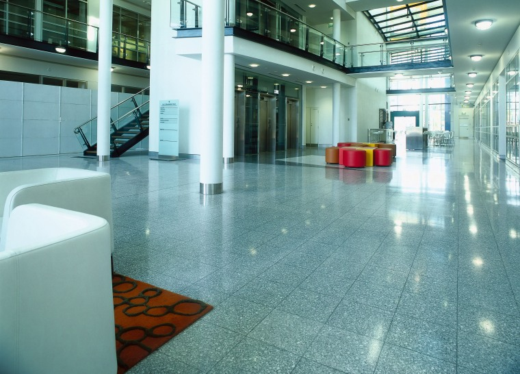 view of the terazzo tiles architecture, floor, flooring, glass, interior design, lobby, tile, teal, white