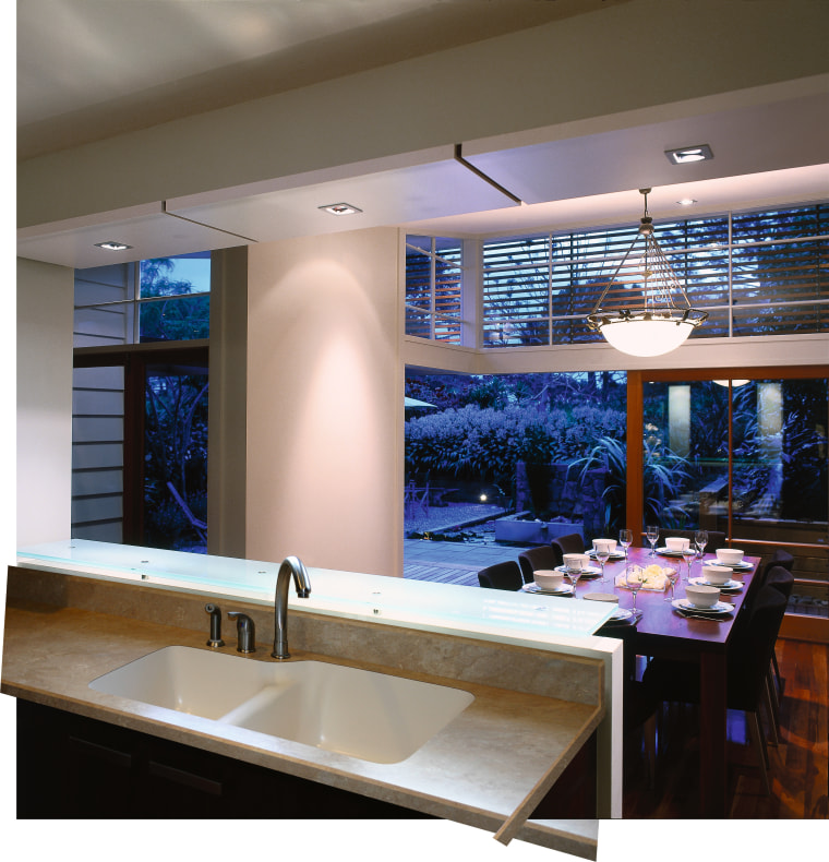 View of the undermount kitchen sink, with dining ceiling, countertop, daylighting, glass, interior design, kitchen, lighting, window