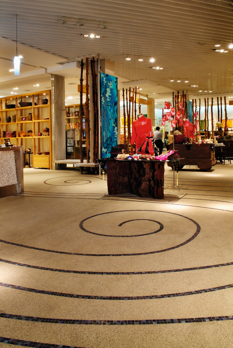 View of the polished concrete flooring in the flooring, interior design, lobby, shopping mall, brown, orange