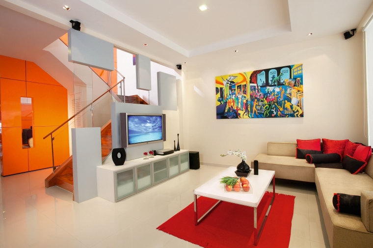 view of the lounge area with orange feature ceiling, home, interior design, living room, real estate, room, gray