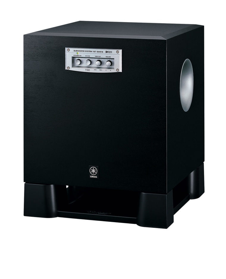 view of the yamaha subwoofer audio, audio equipment, electronic device, loudspeaker, multimedia, product, product design, subwoofer, technology, black, white