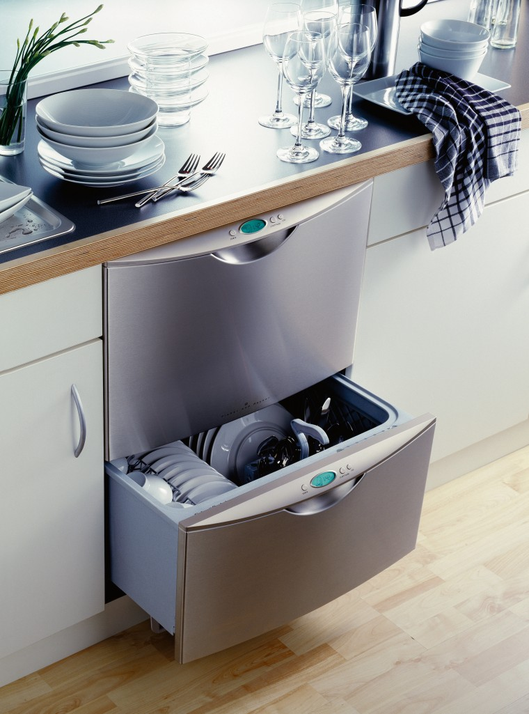 View of a double drawer stainless steel dishwasher. drawer, furniture, home appliance, kitchen appliance, major appliance, product, product design, tap, white, gray